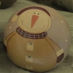 32330SG- Snowman Wood Ball Decorative