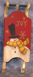 Primitive Wood Santa Sleigh 34043J -Joy Mini Wood Christmas Sleigh Ornament