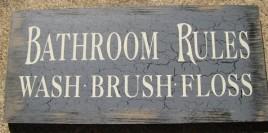 Primitive Wood Bathroom Sign  36907CB-Bathroom Rules Blue