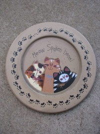 Primitive Wood Cat Plate 36912M - Meow Spoken Here!