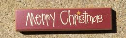 Primitive Wood Block 38676MC - Merry Christmas
