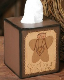 Primitive Tissue Box paper mache'  3B009 - Count Your Blessing