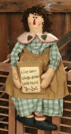 3D6048-Live Well Love Much Laugh Often Primitive Doll