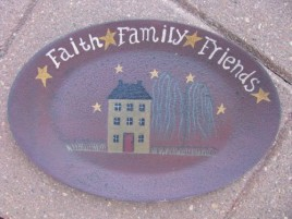 3w9652S Faith Family Friends Small wood Plate