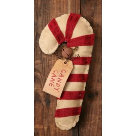 3D6101- Candy Cane Felt Ornament with Bell and tag
