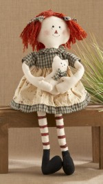 40824-sitting raggedy girl green checkered dress with cat