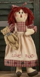 40888- Red Cherkered Doll Girl w/bear