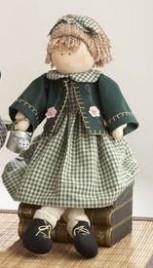 41384 Sitting Girl Green Plaid Dress