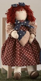 Cloth Primitive Doll 41408-Americana Doll Girl w/hear