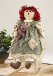 Primitive Decor 41564-Green Raggedy Girl Doll