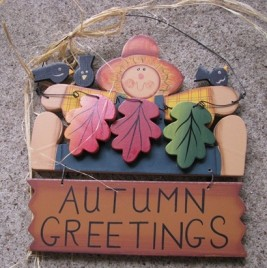 Autumn Greetings Wood Fall Sign