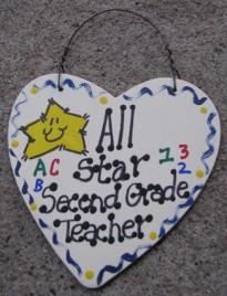 Teacher Gifts  5003 All Star Second Grade Teacher Wood Heart