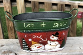 Christmas Snowman 79433NB Let It Snow Metal Basket