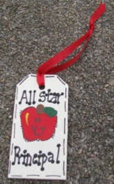 Teacher Gifts  56122P All Star Principal Wood Tag