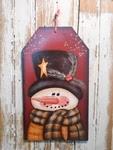 Snowman Decor 5669 - Snowman Gift Tag Burgundy