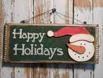 Snowman with Hat Decor 5733 - Happy Holidays Snowman Burlap  Sign