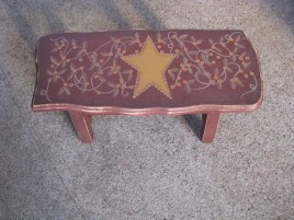 Primitive Wood Stool  60276S - Star Stool
