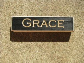 HW607BLK- Grace engraved wood Block
