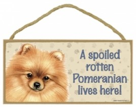 Wood Pet Sign - 61954 A spoiled rotten - Pomeranian Lives Here