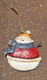 62315BS - Snowman Metal Blue Scarf ornament