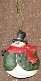 62315GVRS - Snowman Green Vest Metal Ornament