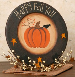 Happy Fall Y'all 6W1014bm Plate Wooden Plate