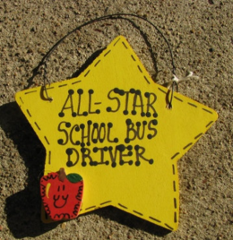7015 School Bus Driver Gifts Yellow Star w/Apple