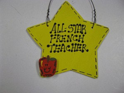 French Teacher Gifts 7029 All Star French Teacher wood star