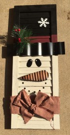 Christmas Decor 74080 Wood Shutter Snowman with Top Hat