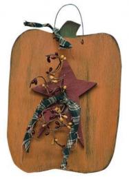 Fall Decor 7548PUMP - Hanging Pumpkin with Star, Homespun Ribbon and Pip Berries
