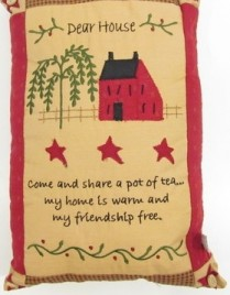 78054dh  Dear House Saltbox House willow tree Pillow