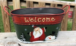 Christmas Santa-Snowman 79433NB Welcome Metal Basket
