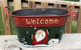Christmas Santa-Snowman 79433NB Welcome Metal Basket
