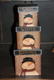 803029-Warm Winter Blessings Snowman set of 3 nesting boxes