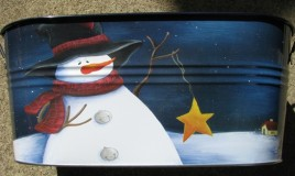 82004 - Oval Painted Snowman Metal Tub