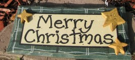 8653G - Green Merry Christmas  wood sign