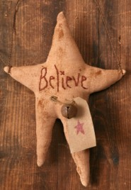 8D0004 PC Primitive Fabric Star  Believe with bell and tag