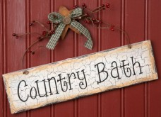 Primitive Crackled Wood Sign 8W1086-Country Bath