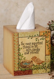 Primitive Tissue Box Cover Paper Mache' 8tb296bm Bird Nest