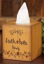 Primitive Tissue Box Cover Paper Mache 8TB305-Faith Hope Love