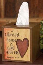 Primitive Tissue Box Cover Paper Mache' 8tb313  A Cheerful Heart