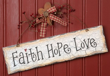 Primitive Crackled Wood Sign 8w1087-Faith, Hope,Love