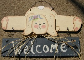 903RB - Welcome Rabbit Blue Banner wood sign