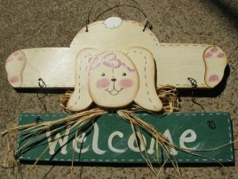 903RG - Welcome Rabbit Green Banner wood sign