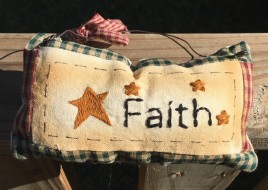 99280f Faith Primitive Mini Pillow with gingham ribbon Hangs by wire