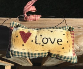 99280L Love Primitive Mini Pillow with gingham ribbon