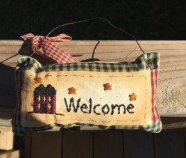 99280W Welcome Primitive Mini Pillow with gingham ribbon Hangs by wire