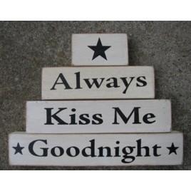 AM67683 Always Kiss Me Goodnight set of 4 wood blocks