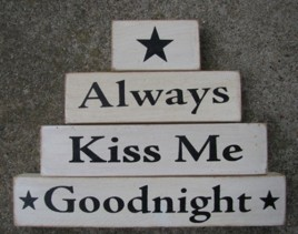 AM67683 Always Kiss Me Goodnight set of 4 wood blocks
