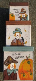 Fall Decor Nesting Boxes B14SC-Scarecrow Stacking Boxes s/3